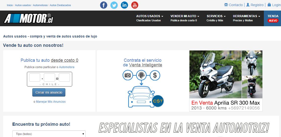 Amotor.cl es una página reconocida por los autos de lujo que comercializa
